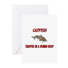 Catfish trapped in a human body Greeting Cards (Pk