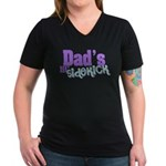 Dad's Lil' Sidekick Women's V-Neck Dark T-Shirt