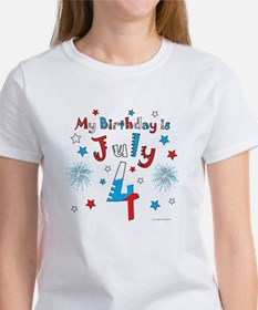 July 4th Birthday Red, White, Blue Tee