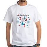 4th of july birthday Mens White T-shirts