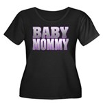 Baby Mommy Women's Plus Size Scoop Neck Dark T-Shi