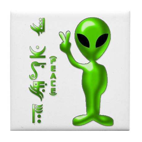 Alien Peace Dudes 9 Tile Coaster