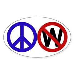 Peace Sign Anti-Bush oval car sticker