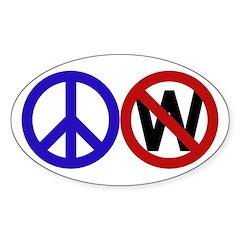 Peace Sign Anti-Bush oval car sticker