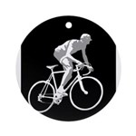 Bicycle Racing Abstract Silhouette Print Round Orn
