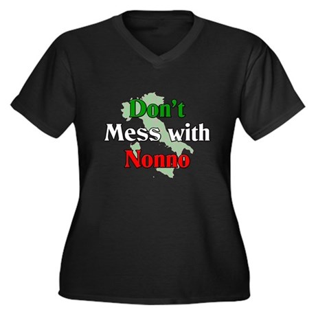 Don't Mess With Nonno Women's Plus Size V-Neck Dar