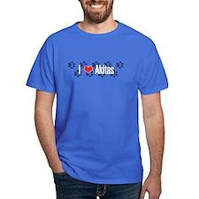 I heart Akitas Royal Blue T-Shirt