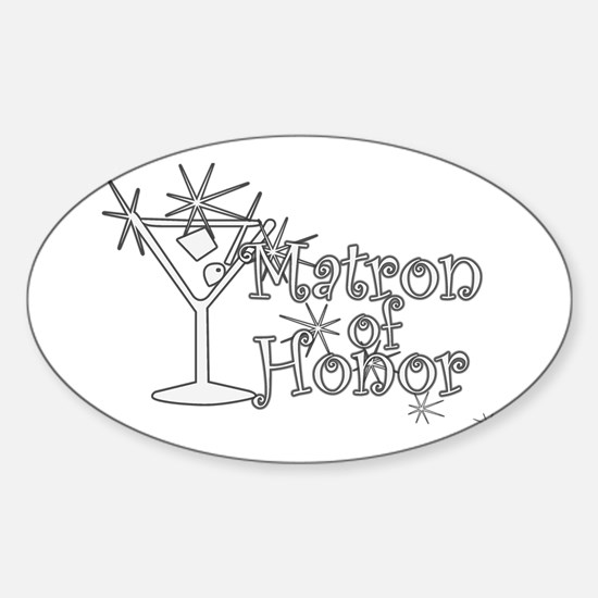 White C Martini Matron Honor Oval Decal
