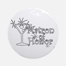 White C Martini Matron Honor Ornament (Round)