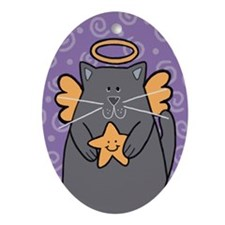 Gray Kitty Angel Oval Ornament