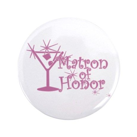 """Pink C Martini Matron Honor 3.5"""" Button (100 pack)"""