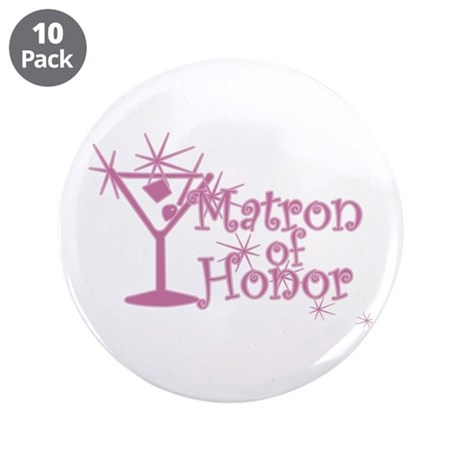 "Pink C Martini Matron Honor 3.5"" Button (10 pack)"