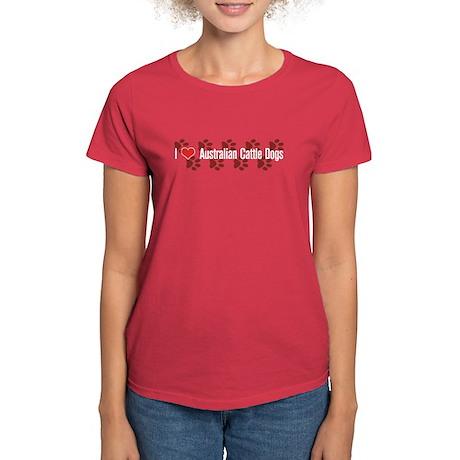 I heart Australian Cattle Dogs Women's Red T-Shirt