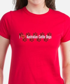 I heart Australian Cattle Dogs Women's Red T-Shirt