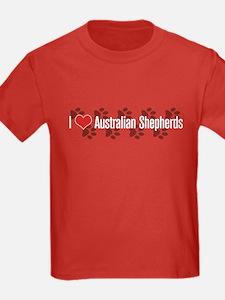 I heart Australian Shepherds Kids Red T-Shirt