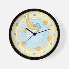 Sleepy Moon Boy Wall Clock (bc)