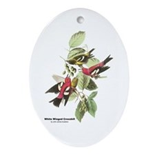 Audubon White Winged Crossbill Oval Ornament