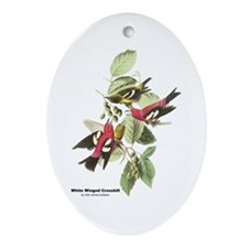 Audubon White Winged Crossbill Oval Ornament