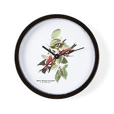 Audubon White Winged Crossbill Wall Clock