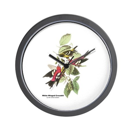 Audubon White Winged Crossbill Wall Clock