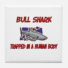 Bull Shark trapped in a human body Tile Coaster