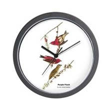 Audubon Purple Finch Birds Wall Clock