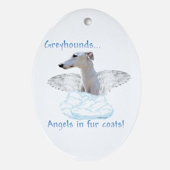 Greyhound Angel Oval Ornament