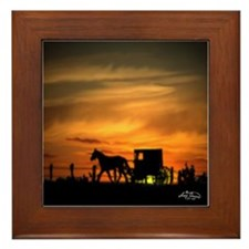 Amish Buggy Framed Tile