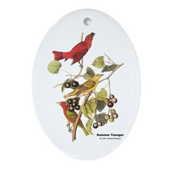 Audubon Summer Tanager Birds Oval Ornament