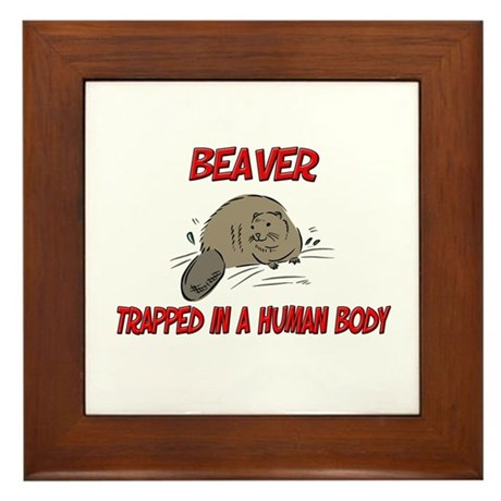 Beaver trapped in a human body Framed Tile