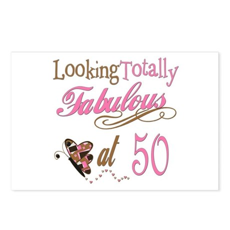 Fabulous 50th postcards package of 8 by fabandfestive for 50th birthday decoration packages