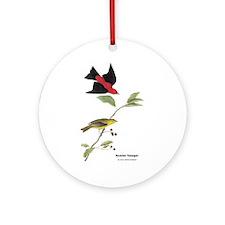 Audubon Scarlet Tanager Birds Ornament (Round)