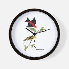 Audubon Scarlet Tanager Birds Wall Clock
