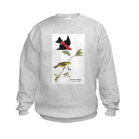 Audubon Scarlet Tanager Birds (Front) Kids Sweatsh