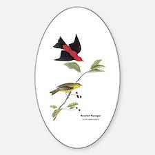 Audubon Scarlet Tanager Birds Oval Decal