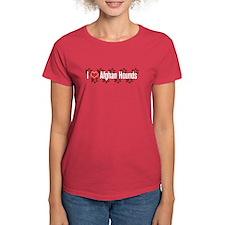 I heart Afghan Hounds Women's Red T-Shirt