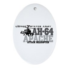 Army Apache Helicopter Ornament (Oval)
