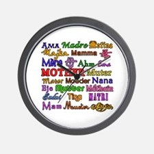 Mother in Many Languages Wall Clock