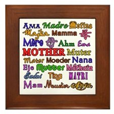Mother in Many Languages Framed Tile