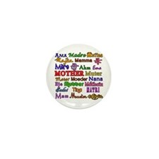 Mother in Many Languages Mini Button (10 pack)