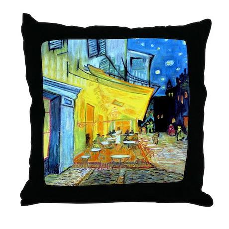 Van Gogh Cafe Terrace At Night Art Throw Pillow