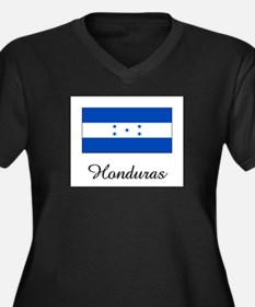 Honduras Flag Women's Plus Size V-Neck Dark T-Shir