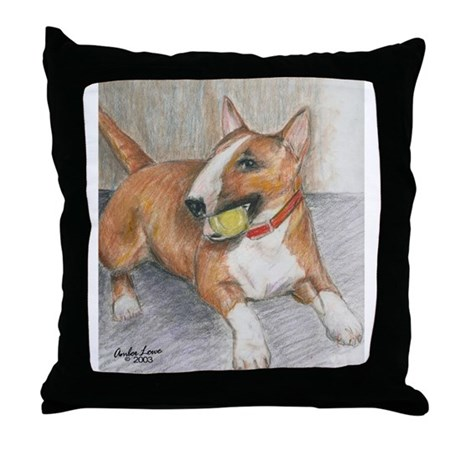 A Red Bull Terrier with Ball Throw Pillow