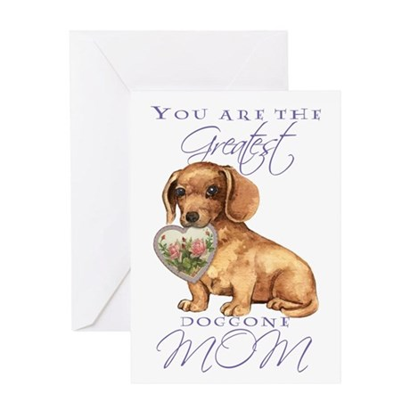 Dachshund I Love Mom Greeting Card
