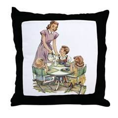 1940's Drink Milk for Lunch Throw Pillow