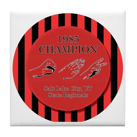 Rock Paper Scissors Champ Tile Coaster