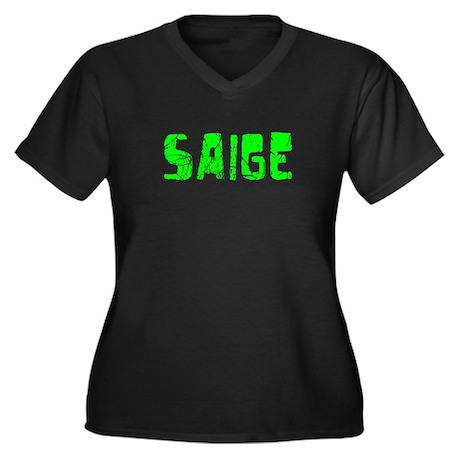 Saige Faded (Green) Women's Plus Size V-Neck Dark