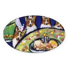 WELSH CORGI birthday party! Oval Decal