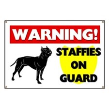 Staffordshire Bull Terriers On Guard Banner