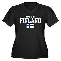 Made In Finland Women's Plus Size V-Neck Dark T-Sh